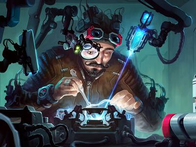 Clockmaker sci-fantasy xsolla aleksey litvishkov 2d art illustration