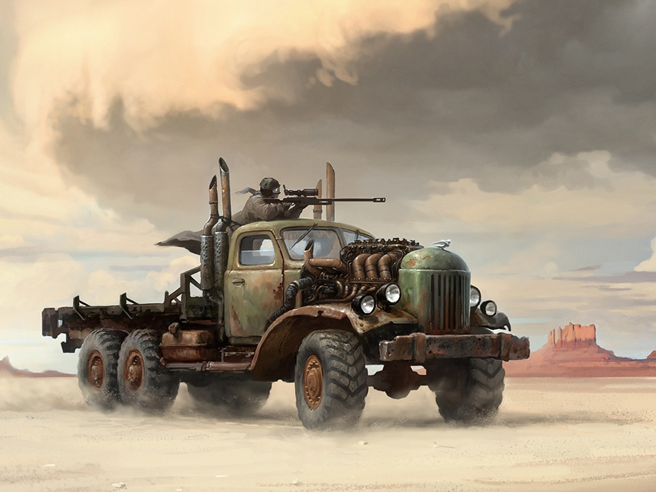 Desert III sniper old car sandstorm post apocalypse rust truck desert aleksey litvishkov 2d art illustration