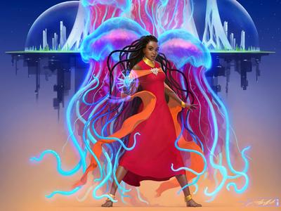 «Binti» Nnedi Okorafor jellyfishes book cover aleksey litvishkov 2d art illustration