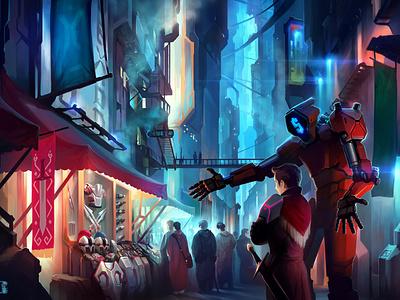 Bazar иллюстрация арт литвишков киберпанк cyberpunk xsolla sci-fi aleksey litvishkov 2d art illustration