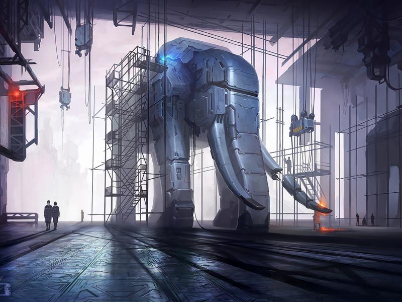 Harvester elephant harvester digital art xsolla sci-fi aleksey litvishkov 2d art illustration