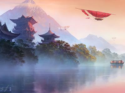 Asian land landscape pagoda airship aerostat mountain evening river digital art xsolla aleksey litvishkov 2d art illustration