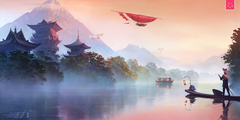 Asian land (right part) landscape river asia digital art xsolla sci-fi aleksey litvishkov 2d art illustration