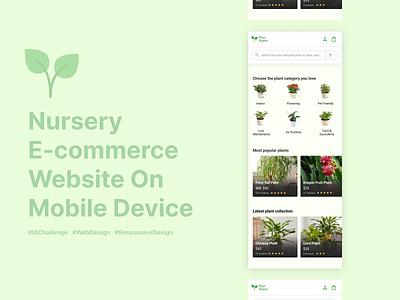 Nursery Mobile Web Design ui plants online nurseryapp uxdesign uidesign webdesign