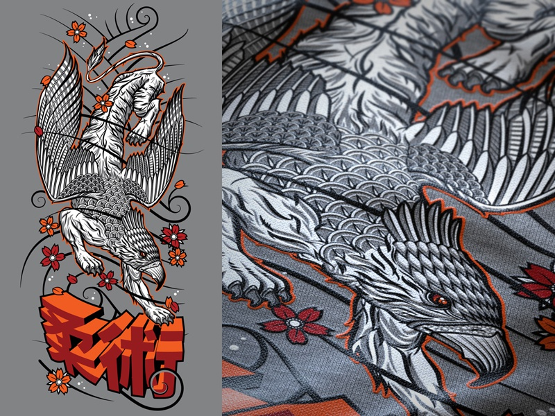 Irezumi Griffin jiujitsu illustration typography vector
