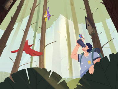 Forest Research illustration jungle bird research forest nature character character design fireart fireartstudio