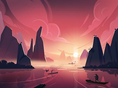 Traditional fishing nature illustraion fishman fishing boat mountain landscape china sunset fireartstudio fireart