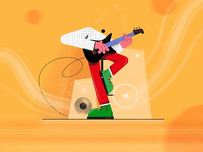 guitar hero character design circle disco music guitar fireart character illustraion illustration
