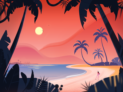 Summer dream fireart fireartstudio tropical leaves sunset beach tropical tropic palmtree palm girl nature illustraion illustration