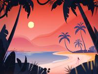 Summer dream fireart fireartstudio tropical leaves sunset beach tropical tropic palmtree palm girl nature illustraion illustration