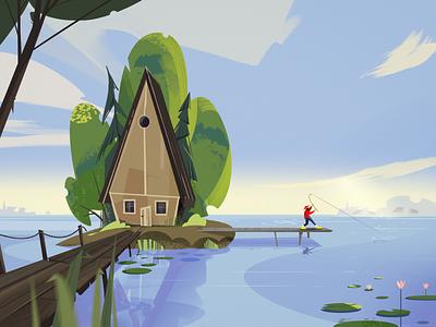 Cabin on the lake landscape nature house lake illustraion fireartstudio