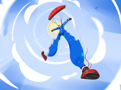 Jump adrenaline sun air airplane parachute jump character design fireartstudio fireart character illustration illustraion