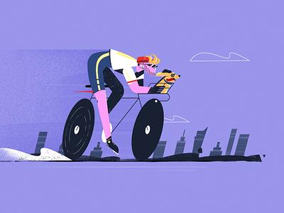 Weekend cycling illustration character design fireart fireartstudio biker bicycle bike ride weekend summer city cycling bike character illustraion