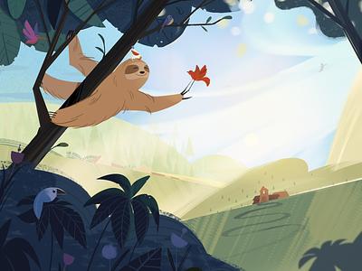 Friends sloth bird landscape forest nature character design fireart fireartstudio illustraion character illustration