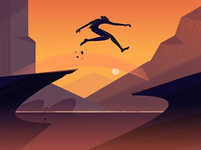 The Big Leap motion leap character nature fireart character design fireartstudio illustration illustraion