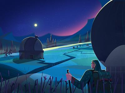 Night sky space stars forest night observatory character design fireart fireartstudio character illustration illustraion