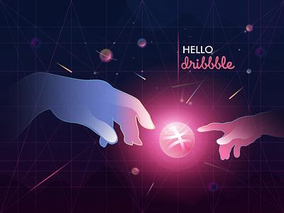 Hello dribbble! vector design illustration