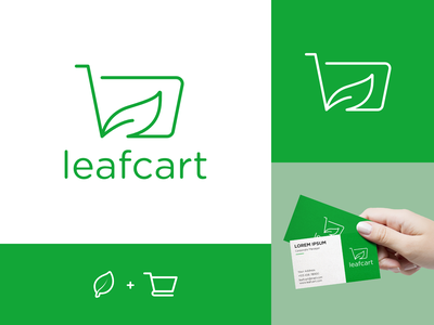 LeafCart Logo Design abstract flat simple shop adobe illustrator monoline logo minimal logomark clean nature logo business card cart leaf logos logo design logo designer design branding brand