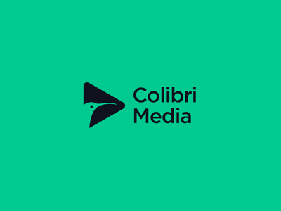 Colibri Media Logo Design playful animal colibri play media player app media business logomark branding brand flat bird hummingbirds icon simple modern logo design designs logo