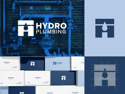 Hydro Plumbing Logo Design company branding wrench hvac handyman drops water pipes plumber negative space logotype simple identity plumbing and heating heating service plumbing brand design logo
