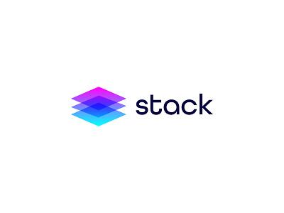 Stack Logo Design o p q r s t u v w x y z a b c d e f g h i j k l m n mobile app technology colorful gradient vector identity branding simple logomark startup tech mark brand icon design logo modern
