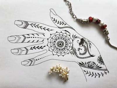 Zentangle drawing: Mehendi ornament