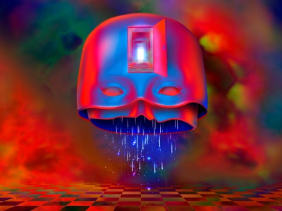 Portal to the Inner World surreal psychedelic 90s eyes face masks introspection mind portal doors