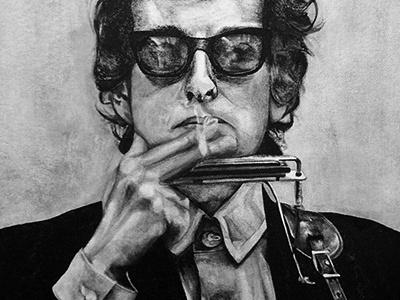 Bob Dylan bob bob dylan fan art musician ink canvas black and white bw smoking commission art