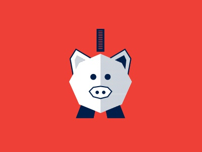 This Little Piggy Ate The Cash illustration icon finance save cash orange blue coin money pig