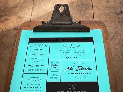 """Na Donker """"After Dark"""" Bar Menu black blue neon logo branding menu bar dark"""