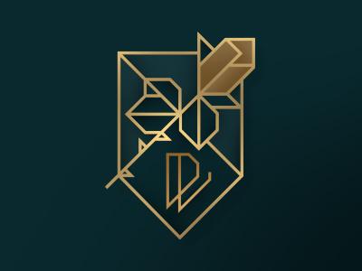 DV Logo Insignia personal branding monogram dv forest green gold angles geometric tangram logo rose