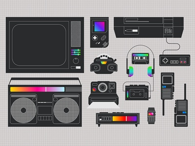 Ay yes, the 80s! animated retrowave black and white gradient minimalist technology gadgets retro 80s