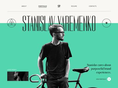 Personal portfolio page portfolio page website ux ui typography minimal landing flat design