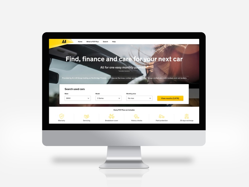 PCP Plus. Car financing reimagined for the AA UI/UX payment web responsive development search car search financing pcp shop landing desktop car minimal flat figma ux ui design