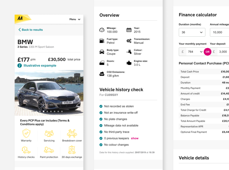 PCP Plus. Car financing reimagined for the AA UI/UX profile info gray clean pcp search results calculator tech info car info financing car profile car minimal flat figma ux ui design
