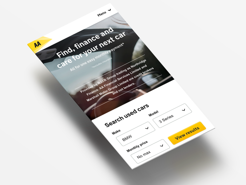 PCP Plus. Car financing reimagined for the AA UI/UX used car search screen pixel perfect landing theaa car minimal flat design responsive figma ux ui