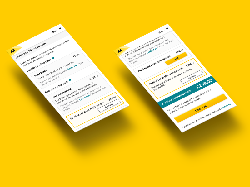 Car repair and servicing app for the AA (Uber colab) - UI/UX additional web mobile repair items add price services cards car responsive minimal flat figma ux ui design