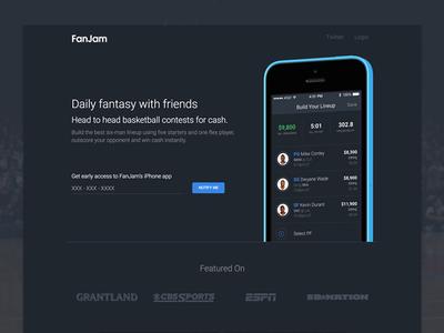 FanJam nba ux dark game website minimal fantasy basketball sports ui app