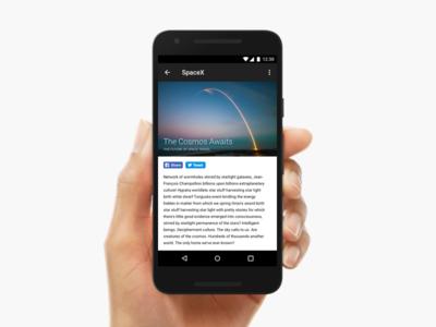 Articles App nexus ux google mobile minimal spacex article android ui app