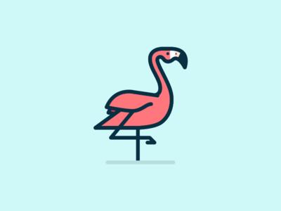 Flamingo flamingo minimal bird illustration