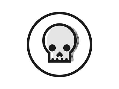 Skull offset halftone skull minimal illustration