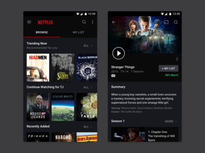 Netflix Redesign ux redesign google android app dark material mobile netflix ui movies