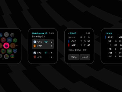 Soccer App ux dark soccer sports watch ui apple app