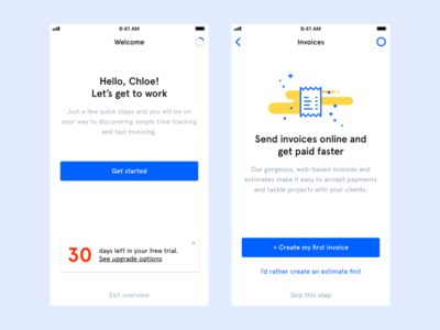 Invoice App ux app apple mobile invoice welcome onboarding ui ios