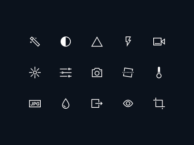 Camera Icons dark ui editor minimal illustration icons glyphs camera app