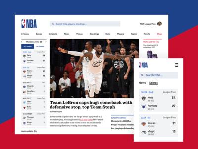 NBA Redesign responsive ux website redesign minimal sports basketball nba ui mobile