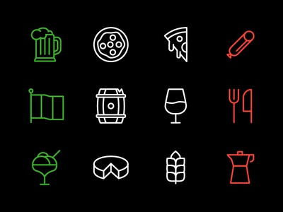 Italian Icons ui minimal illustration icons glyphs food restaurant italian branding
