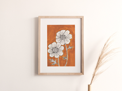 Orange Flower Painting botanical painting botanical illustration flower illustration flower painting white space art white space