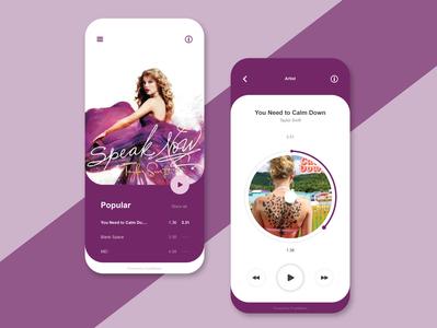 UI Design : MusicPlayer Purple Concept app designgraphic freelance designer freelancers flat ui dashboard design uidesigner uidesign simple design ui
