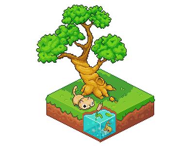Pixel art: a slice of nature pyxeledit retro fish tree cat game art nature isometric 8-bit pixelart pixel pixel art